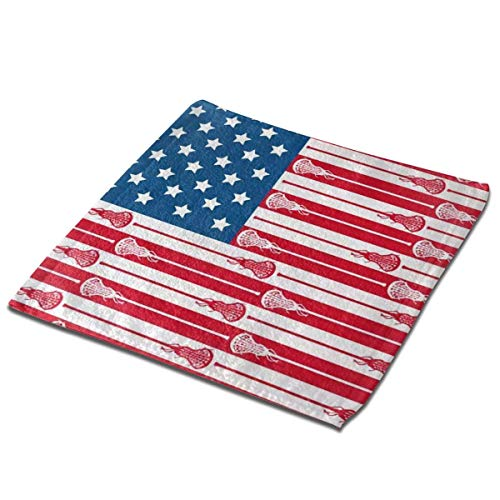 Bgejkos Juego de 3 toallas de baño para baño, hotel, spa, cocina, multiusos con punta de dedos y paños faciales, 33 x 33 cm, bandera de Estados Unidos lacrosse