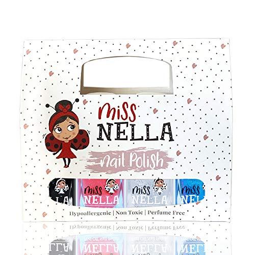 Miss Nella Partysammlung Glitzer Nagellack 4er Set: schwarz, top coat, blau & Korallen, abziehbarer Nagellack speziell für Kinder, Peel-Off-Formel, ungiftig, wasserbasiert und geruchsneutral