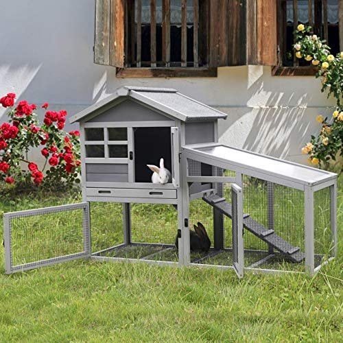 Aivituvin Rabbit Cage Indoor Bunny Hutch with Deeper No Leakage Tray, Rabbit House with Removable Bottom Wire Mesh & PVC Layer, Upgrade Version