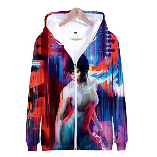 PLMNK Ghost Attack Machine 3D Dibujos Animados animación Cremallera suéter con Capucha cómodo Sudor Transpirable suéter Casual L