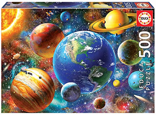 Educa Borras - Genuine Puzzles, Puzzle 500 piezas, Sistema solar (18449)