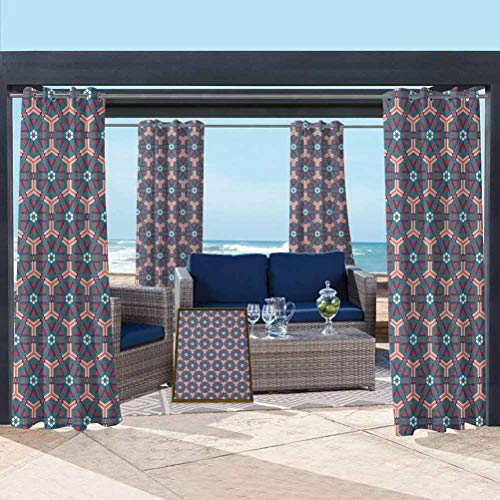 ParadiseDecor Traditional Outdoor Porch Curtains for Pool/Gazebo/Lawn Moroccan Mosaic Tiles Hexagonal Ornamental Victorian Ceramic Style Baroque Multicolor 76W x 108L Inch