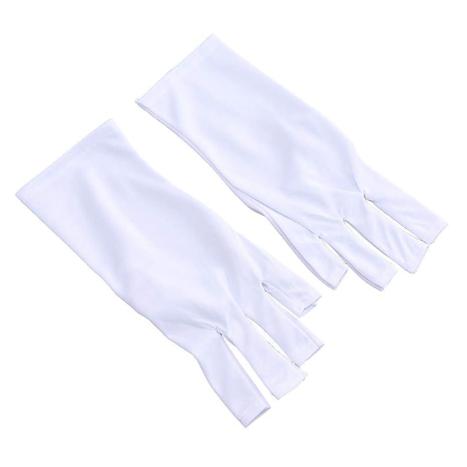 感情時代サークルFrcolor 抗uv手袋 ネイル 手袋 ネイルアート グローブ ジェルネイル用 紫外線防止 マニキュアドライヤーツール 2ペア(25cm ショートホワイトUVグローブ)