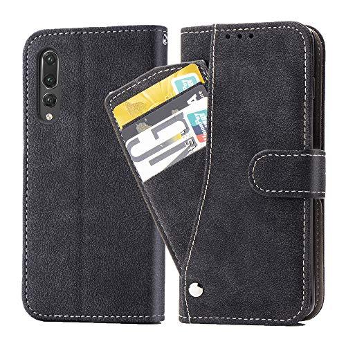 Asuwish Huawei P20 Pro, funda de piel plegable, con tarjetero, soporte fino, resistente a los golpes, de cristal templado + funda para teléfono móvil para Huawei P20 Pro (6,1 pulgadas), color negro