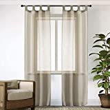 GIRASOLE Par de cortinas de gasa, transparentes, efecto lino, para salón, dormitorio, balcón, ventana e interior, 2 paneles con trabillas (70 x 240 cm)