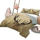 Juego de Colcha de Colcha Decoración de asta Suave edredón Suave Whitetail Deer Fawn in Wilderness Stag Countryside Tema de Caza Rural Tamaño Completo Marrón Arena Marrón