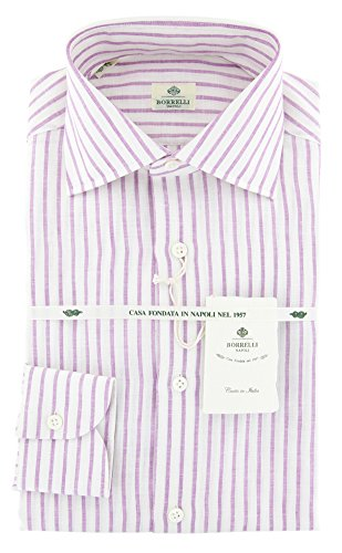 Luigi Borrelli Purple Stripes Button Down Spread Collar Linen Slim Fit Dress Shirt, Size xx-Small 14.5
