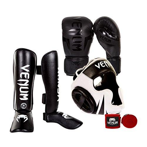 Venum Elite Challenger 2.0 Boxing Gloves Kit - Black/Black Gloves, Black/White Shinguards,...