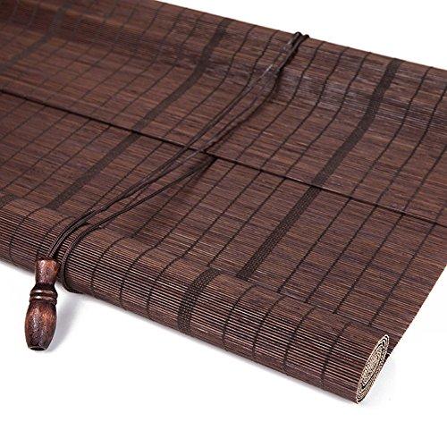 WYGG-Decoración del hogar Roller Blind Bamboo Curtain – Natural Nanmu Drawstring Cortina de bambú a…