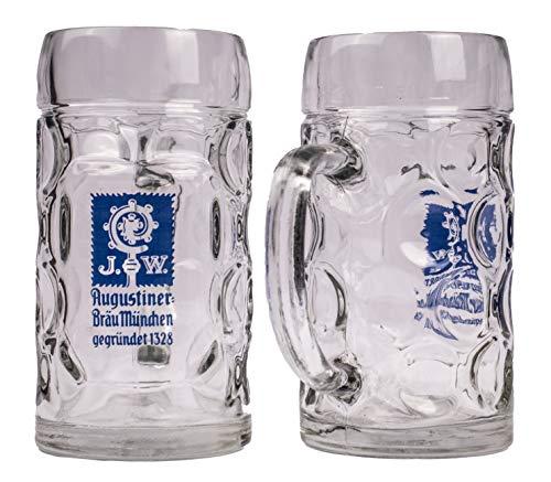 Augustiner Bräu München 2er Set Isarseidel Glaskrug 0,5 Liter geeicht