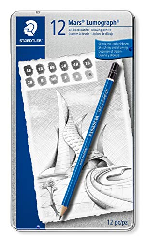 Staedtler Lumograph Graphite Drawing & Sketching Pencils, Soft Set of 12 Degrees (100G12S)