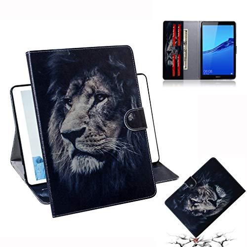 LMFULM® Hülle für Huawei Mediapad M5 Lite 8 (8,0 Zoll) PU Lederhülle Smart Hülle Cover Ständer Schutzhülle Flip Cover für Huawei M5 Lite 8 Löwe