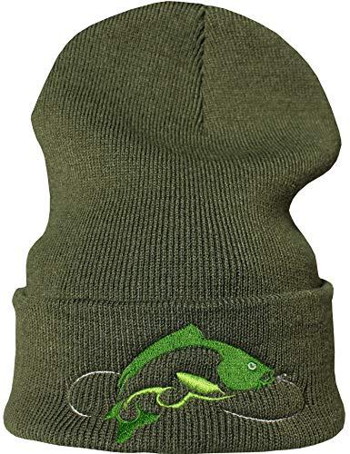 Strickmütze: Karpfen Fisch - Angler Fischer Wald - Wollmütze/Wintermütze/Rollmütze/Long Beanie/Mütze/Seemannsmütze/Unisex Herren Damen/Cool Design Logo Bestickt/Hip Hop (One Size)
