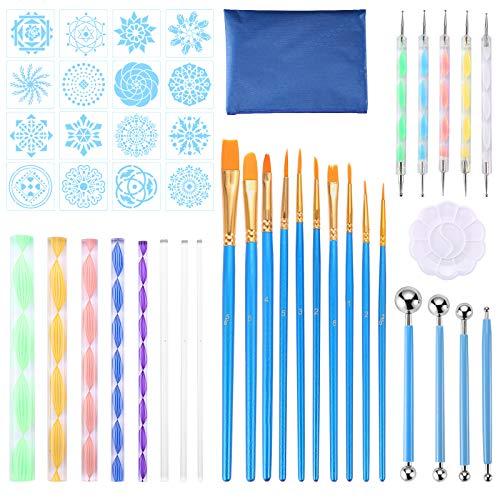 juehu 44 piezas Kits de pintura Mandala Suministros profesionales Juego de herramientas de pintura Plantillas de Mandala,Varillas Acrílicas DIY Mandala Arte Crafts Set para arte de uñas,pintar rocas