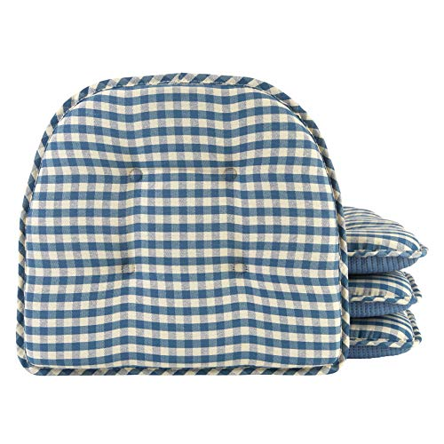Klear Vu Tufted No Slip Dining Chair Pad Cushion, Set of 4, 4 Pack, Gingham Blue