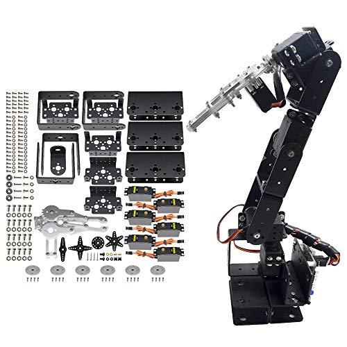 diymore Black ROT3U 6DOF Aluminium Robot Arm Mechanical Robotic Clamp Claw Mount Kit with MG996 Servos+25T Servo Horns for Arduino(Unassembled)