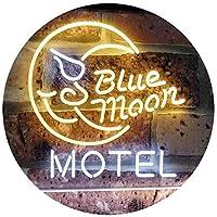 Blue Moon Motel Bar Pub Club Dual Color LED看板 ネオンプレート サイン 標識 白色 + 黄色 600 x 400mm st6s64-i2333-wy