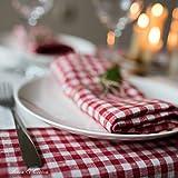 Linen & Cotton 4 x Stoffservietten Servietten Stoff Leinenservietten Kariert im Landhausstil Estella - 100% Leinen, Weiß Weiss Rot (32 x 32cm) Verschiedene Frühling/Home Küche Restaurant Cafe Bistro - 5