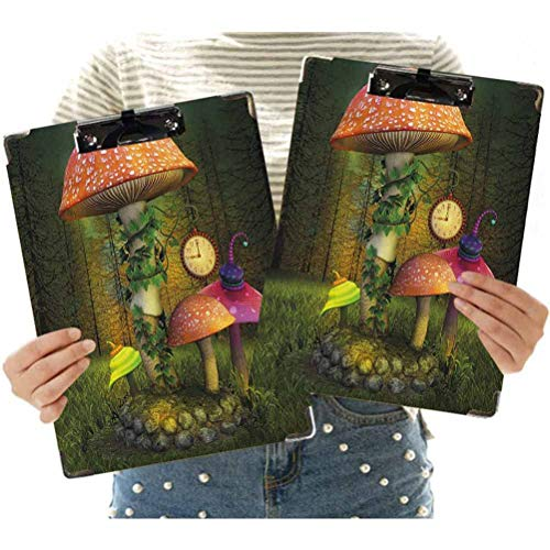 Portapapeles de perfil bajo tamaño carta de 2 unidades, bosque de ficción con setas gigantes y elfos Mágicos de cuento de hadas encantado imagen de oficina para uso en aula y oficina