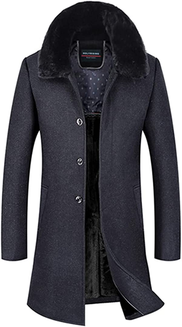 Men Wool Coats Thick Coat Jaket Long Fur Collar Overcoat Soft Peacoat Wool Blends Breasted Button Clothes