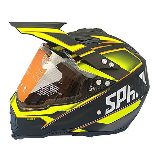 Stella Fella Casco de motocross para hombre de cara completa para carreras de carretera de campo de travesía - grande - negro mate/amarillo