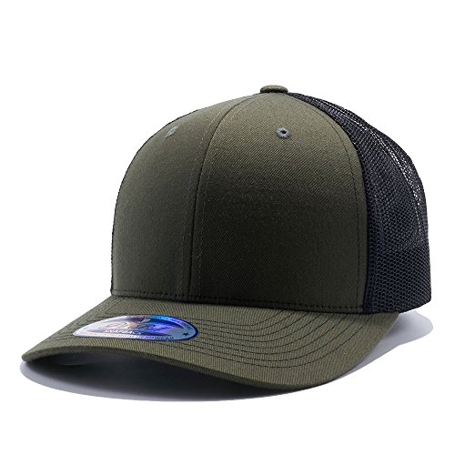 Cambridge Trucker Mesh Back Hat Curved Bill Adjustable Snapback Baseball Cap Olive/Black