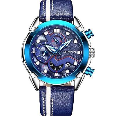 SUNVEN Relojes para Hombres Cuarzo Resistente al Agua - Reloj de Pulsera de Negocios Zafiro Dorado de Acero Inoxidable Pantallas multifunción Manos Luminosas