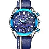 Mans Watch Waterproof Sports Quartz- SUNVEN Watches for Men Water Resistant 30M Blue