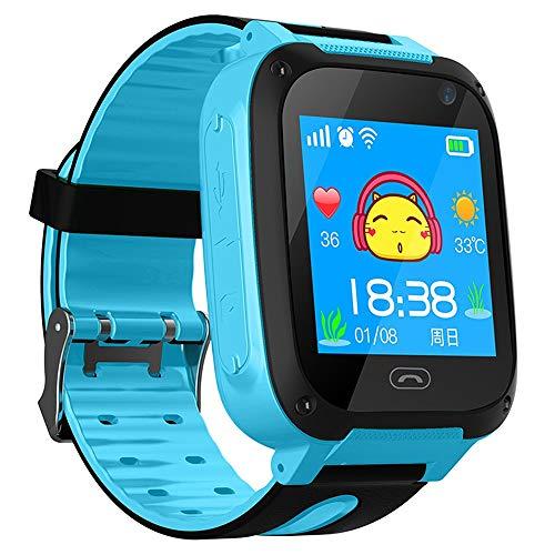 ZAKRLYB Smart Watch Kid Smartwatches GPS Baby Watch für Kinder SOS Call Location Finder Locator Tracker Anti Lost Monitor Kompatibel IOS Android Anruf Spiele Spiele für Kinder 3-12 (Color : Blau)