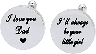 Melix Home I Love You Dad Cuf flinks, I Will Always be Your Little Girl Cufflinks, Wedding Birthday for Dad from Daughter