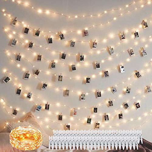 Decute 50 Photo Clips String Lights Holder 100 LED 33FT Starry Fairy Lights for Hanging Pictures Cards Memos USB Powered with Switch Perfect for Bedroom Wedding Dorm Christmas Decor (Warm White)