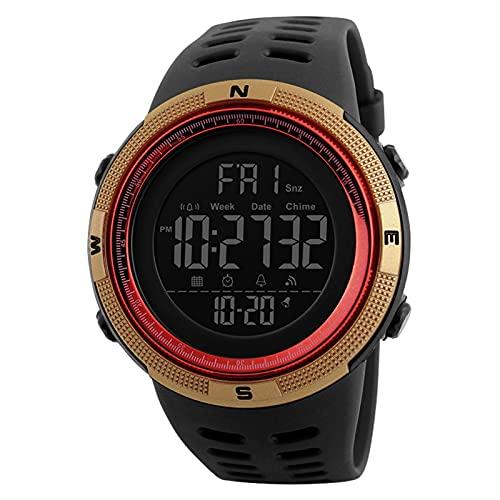JTTM Los Hombres De Cuarzo Reloj De Pulsera con Alarma Cronómetro Digital Reloj Deportivo Dual Tiempo Zona Cuenta Atrás El Luz De Fondo Calendario Fecha Relojes,Golden Red