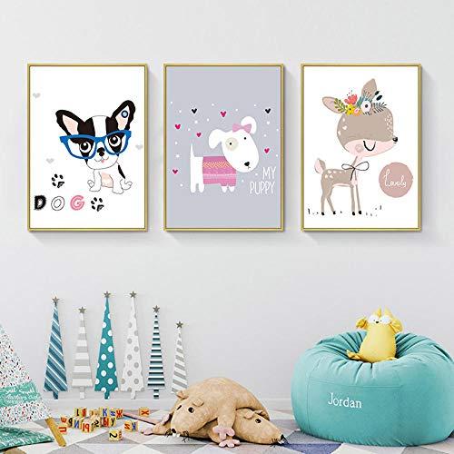 Kitz und Hund 3-teilig auf Leinwand gerahmt-Leinwand Bild Wohnung Deko Kunstdrucke Druck Auf Leinwand Wandkunst Malerei Das Bild-Fertig zum Aufhängen