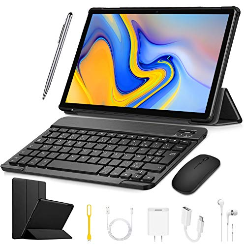 Tablet with Keyboard, Android 9.0 Tablet PC, 10.1 Inch Quad-Core with 3GB RAM, 32GB Storage,8MPDual Camera Dual SIM,GPS,Bluetooth,WiFi -Black