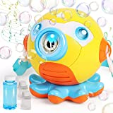 Duckura Toddler Toys Gifts for 1-3 Year Old, Octopus Bubble Machine Blower for Kids, Bubble Maker with Music, Light and 160ml Bubble Solution, Outdoor Play, First Birthday Gifts for Boys Girls Age 3+
