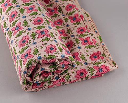 Ridhi Tela multicolor con estampado de bloques de mano indios para ropa de mujer, 5 metros de algodón para hacer bufandas, tela decorativa floral por The Meter para funda de cojín (5 metros)