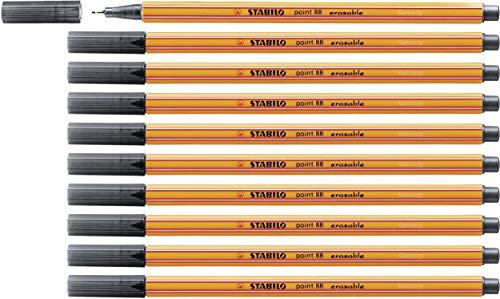 Fineliner mit löschbarer Tinte - STABILO point 88 erasable - 10er Pack - schwarz