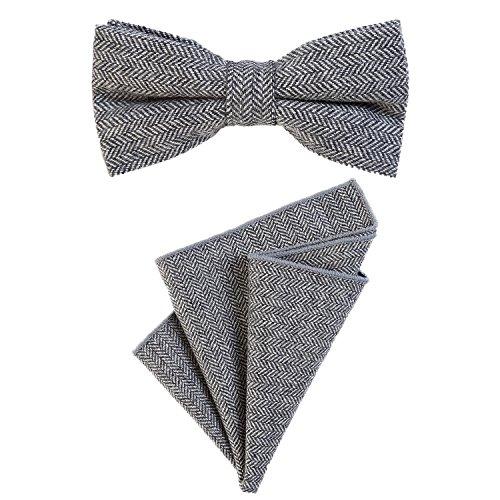 DonDon Herren Fliege 12 x 6 cm mit farblich passendem Einstecktuch 23 x 23 cm beides aus Baumwolle im Tweed Look grau kariert