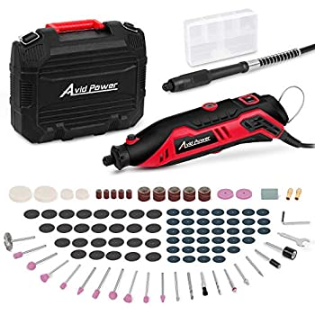 AVID POWER Rotary Tool Kit Variable Speed with Flex Shaft 107pcs Accessories and Carrying Case for Grinding Cutting Wood Carving Sanding and Engraving