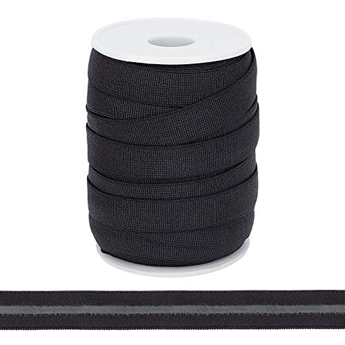 BENECREAT 20 Yards 15mm Wide Non-Slip Elastic Band Stretchy Silicone Backed Gripper Elastic Ribbon Flat Elastic Band with Spool for Sewing Clothing Hair Accessories, Black