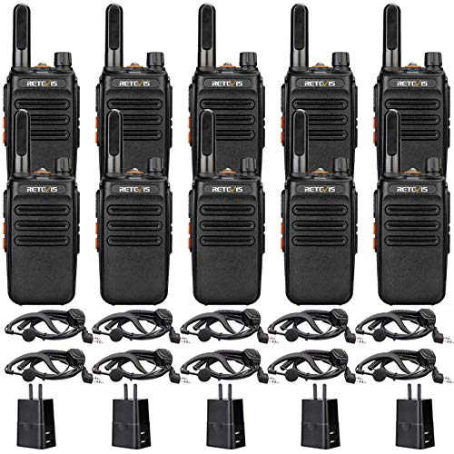 Retevis RB35 Walkie Talkie with Earpiece, Walkie Talkies for Adults, 2 Way Radios Long Range Rechargeable, Flashlight, VOX Handsfree, for Commercial, Healthcare, Government, Education (10 Pack)