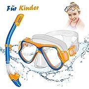 OMORC Schnorchelset für Kinder, Taucherbrille mit Impact Panorama Glas für Kinder von 5-12 Jahren, Weichen Mundstück Flüssiger Silikongummi, Ideal für Schnorcheln und Schwimmen