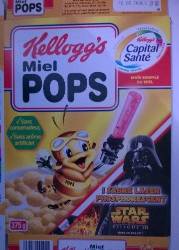 Star Wars - Kellogg\'s/Miel Pops - Star Wars Episode III sabre laser phosphorescent - carton d\'emballage