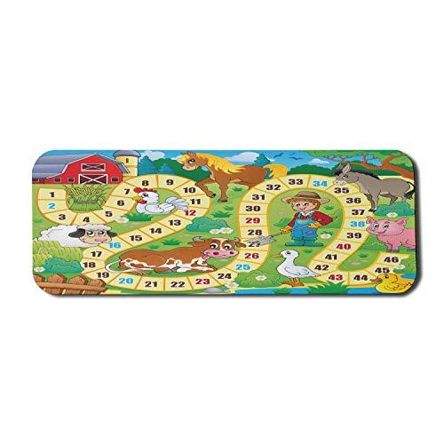 Alfombrilla de ratón de ordenador para juegos de mesa, estilo rústico de granja, entorno agrícola, animales, primavera en el bosque, diseño de guardería, alfombrilla rectangular de goma antideslizante