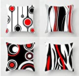 Emvency Set of 4 Throw Pillow Covers 18x18 Inches Decorative Cushion Modern Abstract Red Black White...
