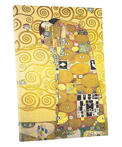 """Niwo Art (TM - The Embrace, by Gustav Klimt, Oil Painting Reproduction - Giclee Wall Art for Home Decor, Gallery Wrapped, Stretched, Framed Ready to Hang (18""""x12""""x3/4"""")"""