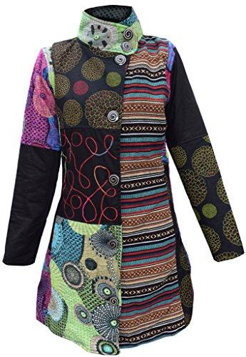 Little Kathmandu Damen Mantel Baumwollfilz-Mix Fleecefutter Blumenmuster Patchwork-Design, Lang Gr. Medium, mehrfarbig