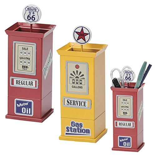 ペン立て ペンスタンド アメリカン雑貨 おしゃれ アメリカンストリート ペンスタンド GAS PUMP 文房具 おもしろ雑貨 文具 ステーショナリー(イエロー)