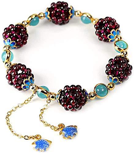 XIAOGING Pulsera de Bola de Flor de Granate Natural de la Vendimia Tianhe Piedra Cloisonne Accesorios Aquamarine Jewelry para Hombres Mujeres