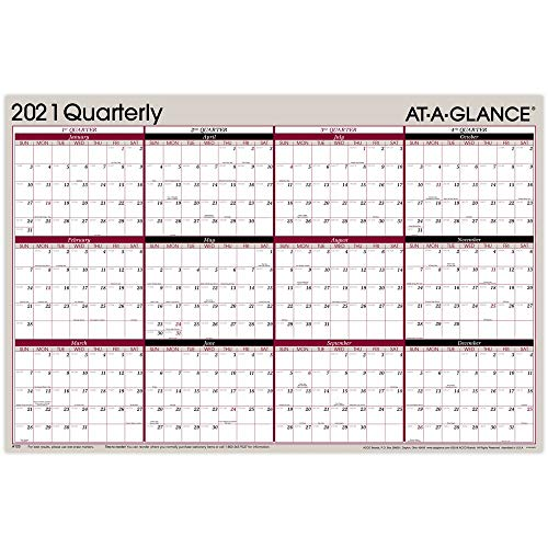 "2021 Erasable Calendar, Dry Erase Wall Planner by AT-A-GLANCE, 36"" x 24"", Large, Vertical/Horizontal, Reversible, Quarterly, Red/Black (A123-21)"